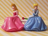 "DISNEY PRINCESSES AURORA & CINDERELLA ON BENCH W/ ROSE FIGURE CAKE TOPPER 2.74""H"