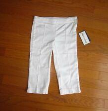 New Hartstrings Girls White Woven Capri Pants Size 5 Adjustable Waist Nwt