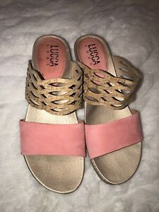Lucca Lane Wanette Cork Suede Wedge Slide Sandals Size 9