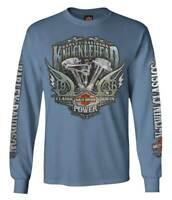 Harley-Davidson Men's Brute Force Crew Neck Long Sleeve Shirt - Indigo Blue