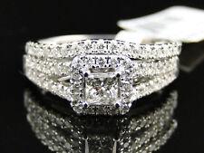 14k White Gold Princess Cut Engagement Bridal Solitaire Diamond Ring Set 1.38 Ct