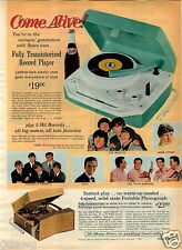 1965 PAPER AD Record Player The Beatles Dion Herman's Hermits Gene Pitney Pepsi