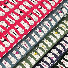 Cotton Fabric per FQ Cat Sunglasses Necklace Necktie Kitty Print Patchwork VS12
