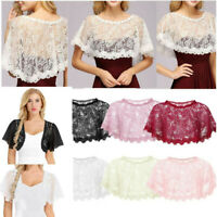 Womens SEE THROUGH Lace Ladies Cardigan Top Bolero Shrug Bridal Dress Shawl Wrap