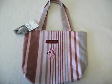 CUTE Bungalow 360 Pink Brown Silver Small Reversible Tote Bag NEW! 10.5 x 8.5