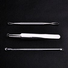 3pcs For Blackhead Acne Pimple Face Cleaner Stainless Steel Curved DIY Tool