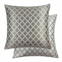 """FILLED JACQUARD MOROCCAN-STYLE PATTERNED LATTE WHITE 22"""" - 55CM CUSHION"""