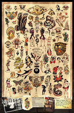 "Sailor Jerry Tattoo Flash Poster (Version. 1) - (24""x36"") - Free S/H"