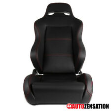 (Right Passenger Side) Black W/Red Stitching PVC Leather Sports Racing Seat