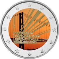 2 Euro Gedenkmünze Portugal 2021 coloriert  mit Farbe / Farbmünze EU Ratspr. 2