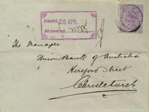 NEW ZEALAND 1894 WADDINGTON PMK PONEKE TABLE JELLY UNDERPRINT ADVERT STAMP COVER