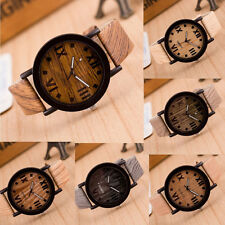 Moderne Unisex Holz Design Armbanduhr PU Leder Quarz Armband Uhr Holzuhr Watch