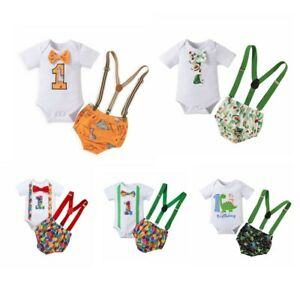 Baby Boys Casual Outfit Short Sleeve Romper Tops Removable Suspender Briefs Set