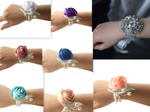 New Bridesmaid Sisters Hand Flowers Wedding, Prom Party Wrist Corsage Bracelet