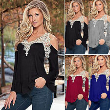 Women Off Shoulder Blouse Tops Lace Ruffle V Neck T-Shirt Casual Jumper Pullover