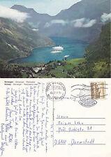 1980 GEIRANGER NORWAY COLOUR POSTCARD CLUB DER KREUZFAHRER CACHE