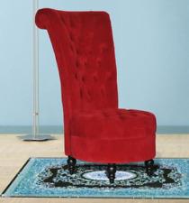 "Red Velvet Accent Chair Upholstered Modern Ottoman Seat 44"" Tufted High Back New"