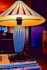 Hand Blown B & W Marcello Furlan  Murano Lamp Perfect Base Repaired Shade Nice !