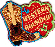 """WESTERN ROUNDUP""-  IRON ON EMBROIDERED PATCH-COWBOY-HORSE-RODEO-GUITAR"