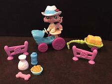 LPS Littlest Pet Shop Collie Hat Tractor Hay Farm Milk Carrots Water Bottle