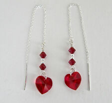"""IAJ"" STERLING SILVER Ear Threader Earring w/ DARK RED SWAROVSKI CRYSTAL HEARTS"