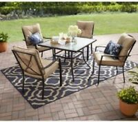 Small Patio Set Outdoor Dining Furniture 5 Piece Chairs Table Seating Cushions
