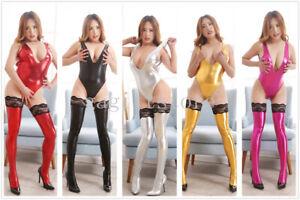 Sexy Women Wet Look Plunge V Leotard Thong Lingerie Bodysuit Stockings Clubwear