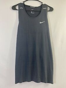 Nike Dri-Fit Techknit Running Tank Black Smoke Grey Size Medium - CJ5427-010