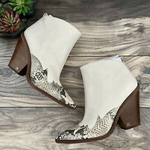 NEW Sam Edelman Ilah Western Ankle Boots Booties Modern Ivory/Snake Print 9M