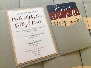 Pocketfold | Grey | Navy | Burgundy | Kraft | Wedding Invite | Belly Band