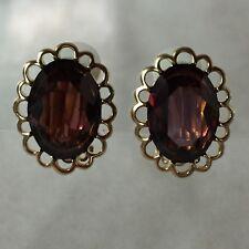 Swarovski Signed Gold Tone Purple Crystal Clip On Earrings