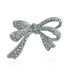 Bridal Bow Ribbon Pave CZ Cubic Zirconia Wedding Bridal Brooch Pin