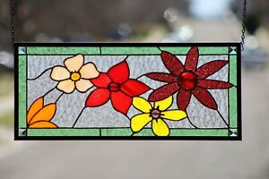 """""""Flowers in the Light"""" Stained Glass Window Panel,  ≈ 24 3/4"""" x 10 3/4"""""""