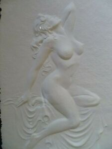FEMALE MODEL 1 NUDE HAND CAST BAS-RELIEF SCULPTURE - ROBERTA PECK -FREE SHIPPING