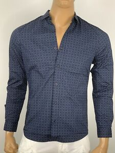 Armani Exchange Authentic Contrast Fine Dot Print Slim Fit Shirt Navy NWT