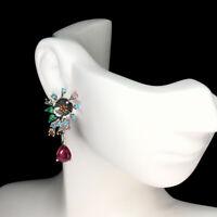 Pear Ruby 9x7mm Apatite Tourmaline Mop 925 Sterling Silver Flower Earrings