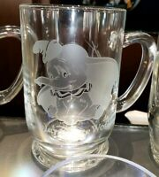 New Disney Parks Arribas DUMBO Etched Glass Coffee Mug Cup! PERSONALIZED