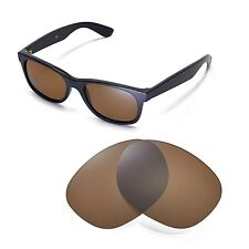 New Walleva Polarized Brown Replacement Lenses For Ray-Ban Wayfarer 2132 55mm