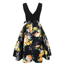 Plus Size Womens Sleeveless Fashion Print Vintage Flare Party And Evening Dress