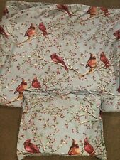 Pottery Barn Red Cardinal Winter Berry 3 Piece King Duvet Set EUC