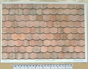 "Dolls house 1/12th scale ""Wood shingles - fish-scale type""  paper - A4 sheet"