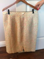 VTG Louis Feraud White Multi Tweed Lined Pencil Skirt SZ US 16 F 48