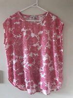 🧡 SPORTSCRAFT Women's Lyocell Pink Floral Sleeveless Blouse Shirt Top Sz 12 M L