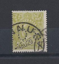 1928 Australia GEO V 4d olive P 14 SG 094 OS FU