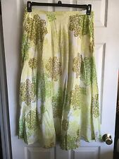 Coldwater Creek Greens & White Iridescent Sequins Geometric Skirt - Plus Size