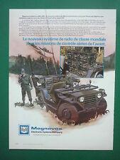 3/1985 PUB MAGNAVOX RADIO GRC-206 CONTROLE AERIEN AVANT A-10 JEEP FRENCH AD