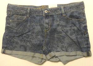 Women's Arizona Paisley Shorties Denim Cuffed Shorts Sizes 1, 3, 5, 7, 9, 11, 13