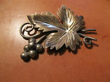 Vintage Mexican sterling silver grape with leaves pin