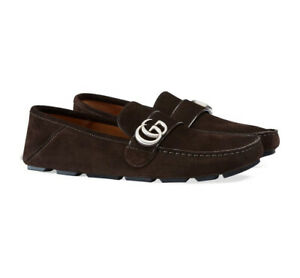 New In Box Gucci Noel Dark Brown Suede GG Detailed Drivers 5EU/6US $630.00