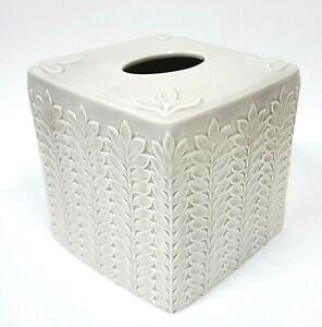 NEW GREY,GRAY 3D CARVED WHEAT PATTERN CERAMIC NAPKIN HOLDER,TISSUE BOX COVER